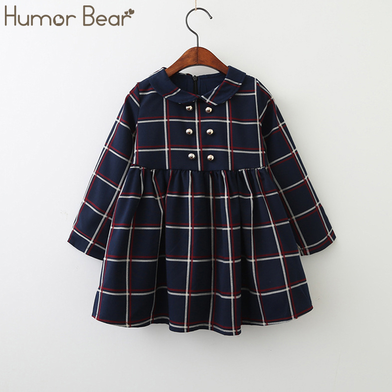 Girls Dress Long-Sleeve Pattern Autumn Humor Bear College Children Lapel Lattice Winds-Style