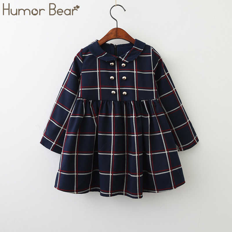 Humor Bear Girls Dress 2019 New Autumn College Winds Style Girls Clothing Long Sleeve Lapel Lattice Pattern Children Kids Dress