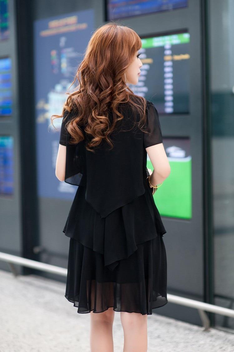 Vestido De Festa Summer Dresses 5XL Plus Size Women Clothing ropa mujer 18 Chiffon Dress Party Short Sleeve Casual Blue Black 6