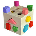 Puzzle intelligence box geometry building baby early childhood cognitive enlightenment children's toys Wooden Cube Color Learn