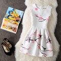 New women summer dress 2017 mangas peach blossom impressão vestidos de festa das senhoras estilo vintage vestidos de festa vestido de verão feminino