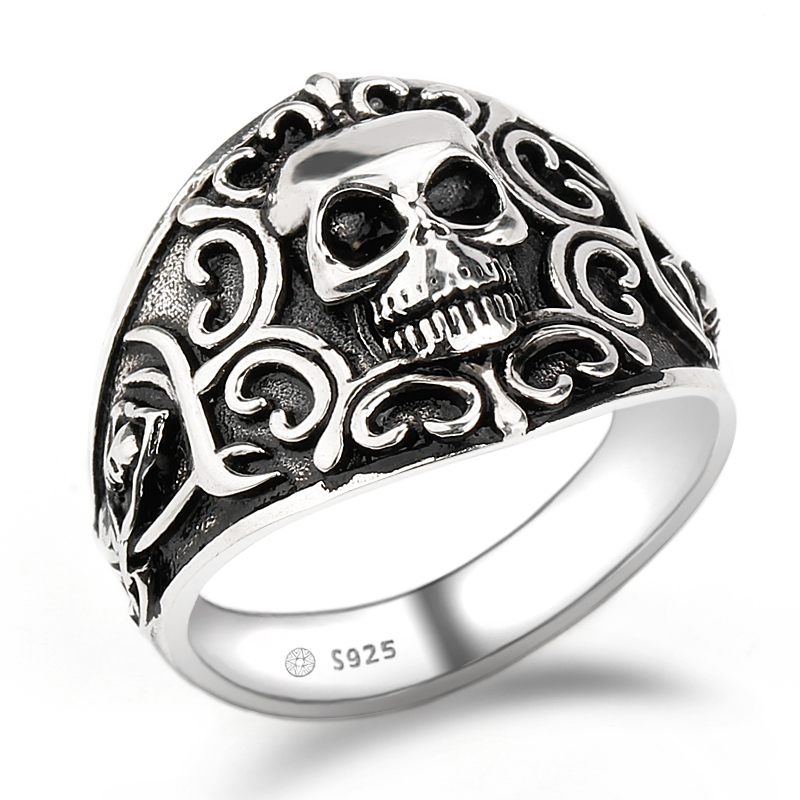Vintage Punk Style Grim Reaper Skull Ring Stainless Steel Never Fade High Pol...