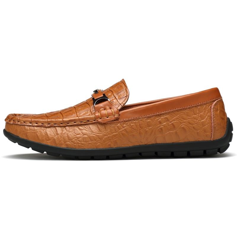 Hommes light Grande Chaussures Cuir 2018 Mocassins Taille Haute En Sur Brown Motif Glissement Crocodile Black Qualité Italia Ccharmix blue Véritable Uxnqtwng