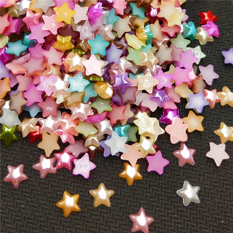 500pcs/pack 6MM Mixed Stars Craft ABS Resin Half Pearls Flatback Cabochon Beads For Cloth Needlework DIY Scrapbooking Decoration(China)