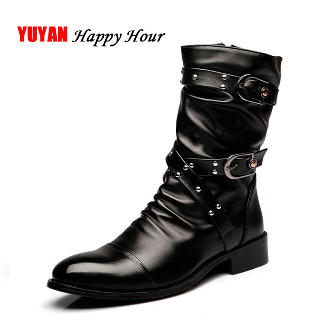 2019 Autumn Winter Genuine Leather Boots Men Winter Shoes High top Fashion Men's Motorcycle Boots ZHK196