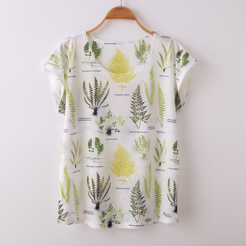 Zuolunouba Novel Plant Printing Harajuku Summer Tops Feminina Casual Tees Short Sleeve Women T Shirt