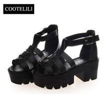 COOTELILI Ladies lBuckle Platform Sandalia Gladiadora Rome Leather Shoes High Heels Gladiator Sandals Women Thick Heel Sandals