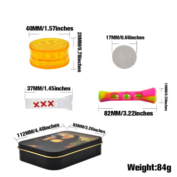 Smoking Set 1x Metal Tobacco Box+1x Silicone Tobacco Pipe+1x Plastic Herb Grinder+5 Booklet Metal Filters+1x Glass Mouth Tips 2
