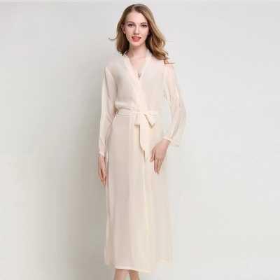 a03326b1347 ... Long Chiffon Dress Silk Robe Women s Pajamas Sexy Transparent Bathrobe  Dressing Gowns For Women Mantle Lingerie ...