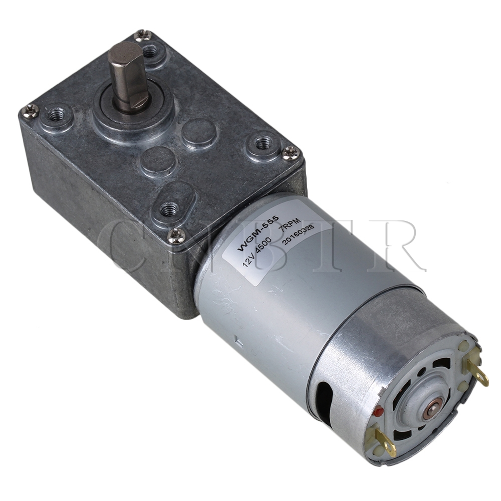 CNBTR DC 12 V 7RPM Low Speed Electric DC Worm Gear Motor High Power WGM 555