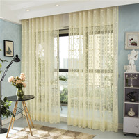 European Style Jacquard Design Home White Curtain Tulle Panel Sheer Yarn Curtain Window Blinds Window Treatments