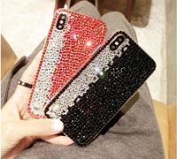 Luxury two colour Full Rhinestone Case For Samsung Galaxy S3 S4 S5 S6 S7 Edge S8 S9 Plus Note 2 3 4 5 7 8 Neo G530 G850