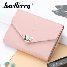 Baellerry Women Solid Wine Red Hasp Short Wallet Note Compartment Coin Pocket Card Photo Holder PU Leather Fashion