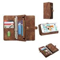 Двусторонняя карта держатель Магнитный Flip Book Стенд роскошный кожаный бумажник чехол для iPhone 6 6S 7 7 Plus марки телефона защитную крышку
