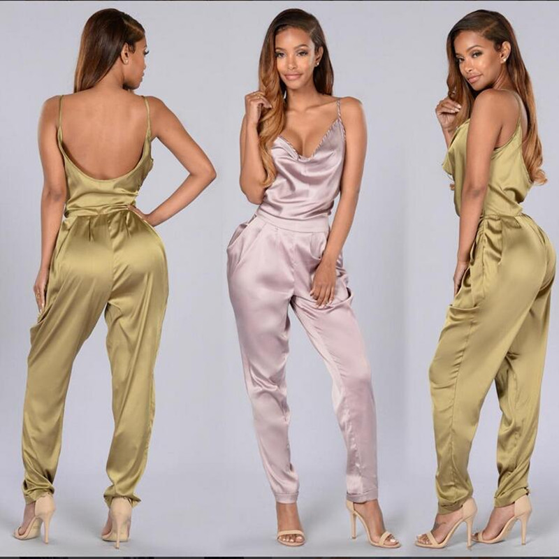 ba5ce7725596 2016 Women New Backless Elegant Jumpsuit Sexy Spaghetti Romper Jumpsuit  Summer Hollow Out V Neck Full Length Casual Playsuit-in Jumpsuits from  Women s ...