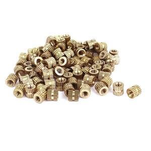 100 шт. M3x5mm (L)-5 мм (OD) Метрические резьбовые латунные круглые вставные гайки LXM