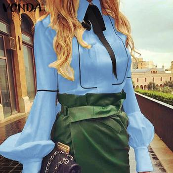 VONDA Ladies Office Shirt 2019 Autumn Blouse Women Sexy Lantern Sleeve Turn-down Collar Shirt Casual Tops Plus Size Blusas S-5XL 4
