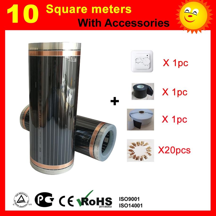 Film chauffant électrique certifié CE de 10 mètres carrés, film chauffant électrique à élément de carbone bon pour la santé