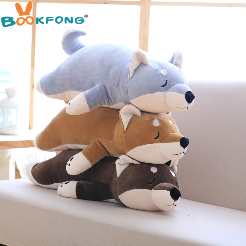 BOOKFONG 1PC Amuse Dog Plush Toy Shiba Inu Toy High Quality Stuffed Loyal Pet Pillow Toy Kawaii Puppy Kids Gift 45/60CM