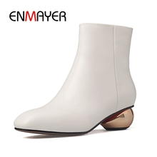 ENMAYER  Round Toe Heels Genuine Leather Ankle Womens Boots Botas Mujer Winter Shoes Size34-39 ZYL1625