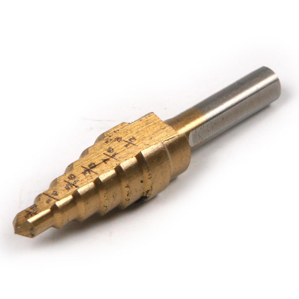 1pcs Steps Down Drill Bit Titanium Coated HSS Step Bits Multi Cut Enlarge Holes  3/16--1/2''