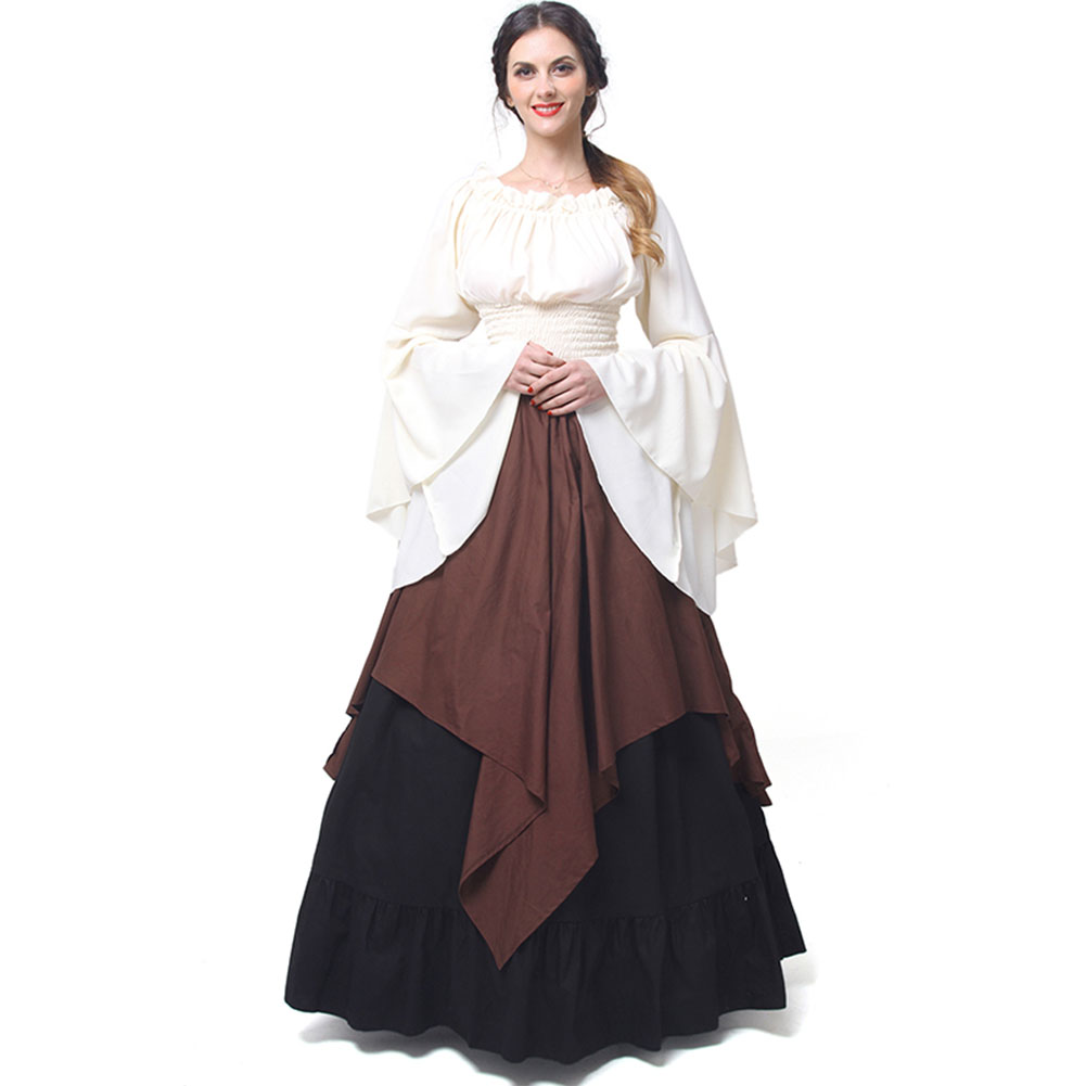 Autumn Vintage Renaissance Medieval Plus Size Women's Sets Sexy O-Neck Flare Sleeve Long Skirts