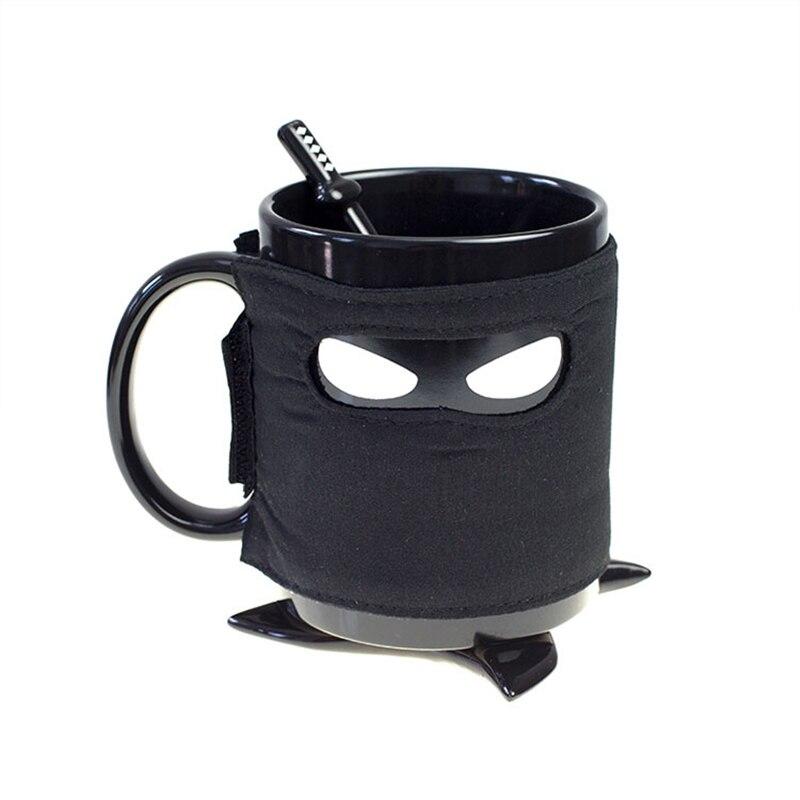 Tasse Ninja créative, masque noir tasse en céramique avec cuillère épée café lait thé tasses lait café thé tasse tasses livraison directe