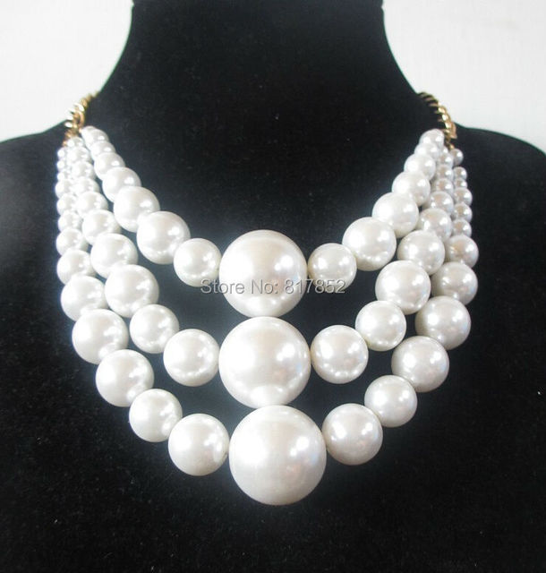 FREE SHIPPING New Style BY487 Gold colour Chains White Imitation Pearls 3 Layers Beads Necklace Jewelry