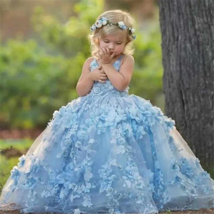 994c3a19a9f 3D Floral Applique Communion Dress Lovely V-Neck Cross Straps Backless  Flower Girl Dress Fluffy
