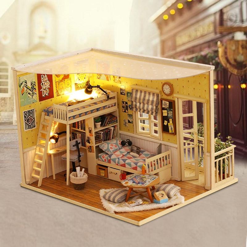 цена на DIY Dollhouse 3D Wooden Handmade Model Creative Doll House Birthday Gift Toys For Children MY LITTER BUDDY And ME CF01 #E