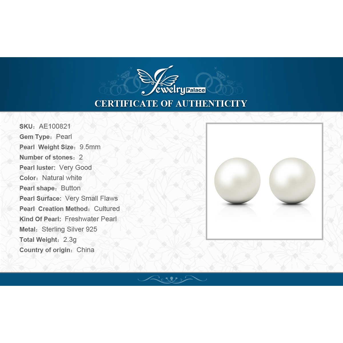 JewelryPalace 925 เงินสเตอร์ลิง 6.5 มม. ไข่มุกน้ำจืดต่างหูสำหรับผู้หญิง Best ของขวัญเครื่องประดับ
