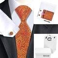 Mens Gravata De Seda Laranja Paisley B-976 Gravata Lenço Abotoaduras Caixa de Presente Saco de Conjuntos Populares Laços Para Homens de Negócios de Casamento