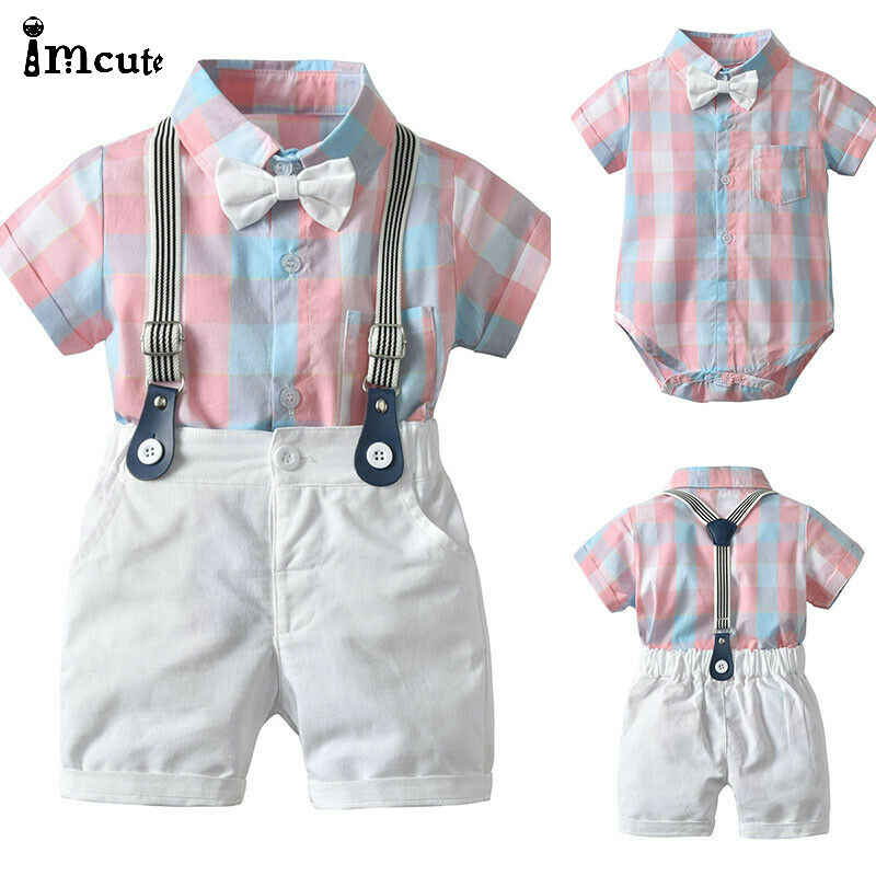 2pcs Toddler Kids Baby Boy Gentleman Outfit Formal Clothes Party Pink Plaid Bow T-shirt Top Romper+White Bib Shorts Cotton Set