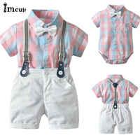 2 pçs da criança dos miúdos do bebê menino cavalheiro roupa formal festa rosa xadrez arco camiseta topo macacão branco bib shorts algodão conjunto