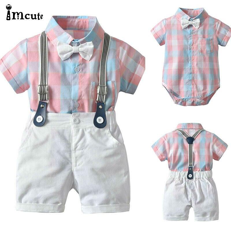 2pcs Toddler Kids Baby Boy Gentleman Outfit Formal Clothes Party Pink Plaid Bow T-shirt Top Romper+White Bib Shorts Cotton Set