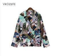 2017 Fashion Leaves Bird Pattern Printed Women Blouse Shirt Vintage Pockets Casual Lady Turn Down Collar