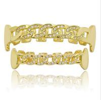 Micro pave cz hip hop bling Or couleur Dents GRILLZ Haut Bas Cubain chaîne conception unique dent clip grill bijoux