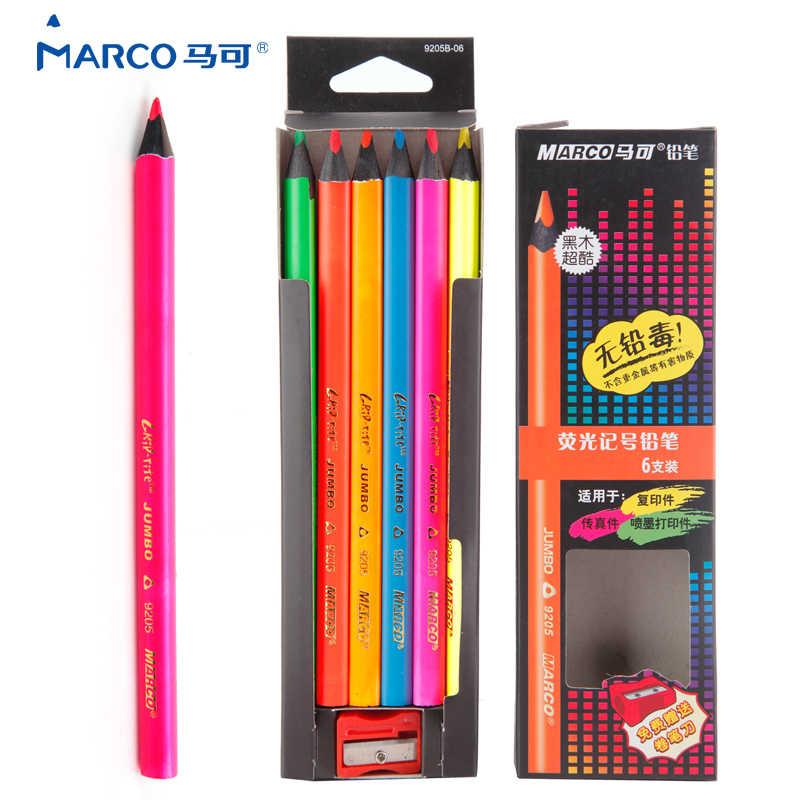 Marco 6ชิ้นสีศิลปินเมทัลลิไพฑูรย์เดรวาดสีpencil setสำหรับโรงเรียนร่างของขวัญภาพวาดศิลปะอุปกรณ์