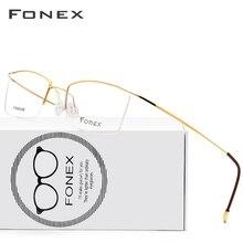 FONEX Titanium Alloy Glasses Frame Men Ultralight Male Prescription Eyeglasses Women Myopia Optical Frame Screwless Eyewear