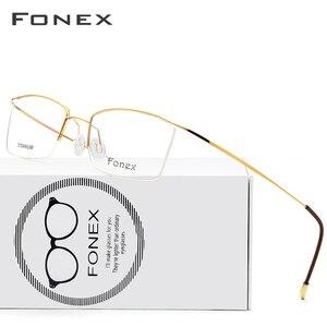 Image 1 - FONEX ไทเทเนียมกรอบแว่นตาผู้ชายชายแว่นตาผู้หญิงสายตาสั้นกรอบแว่นตาไร้สาย