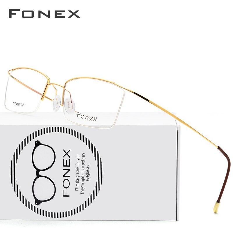 Titanium Alloy Glasses Frame Men Ultralight Male Prescription Eyeglasses Women Half Rim Myopia Optical Frame Screwless Eyewear