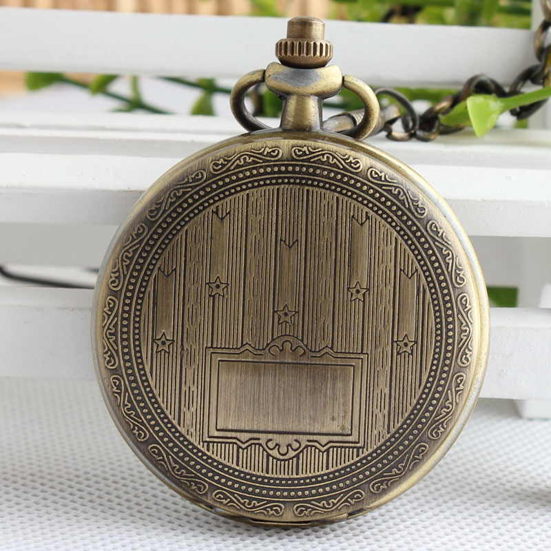 Fashion Bronze Mechanical Hand Wind Pocket Watch Pendant Fob Chain For Men Women Gifts