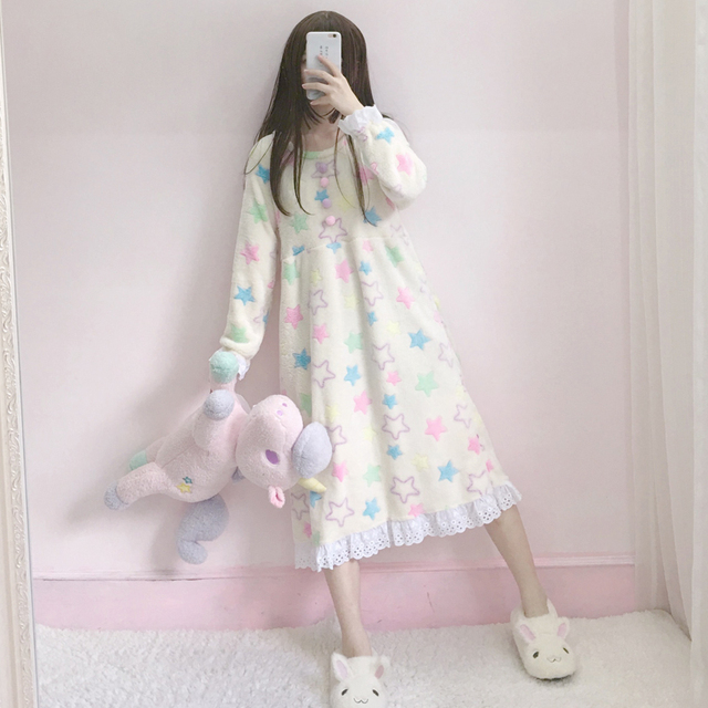 Autumn Dress New Women's Korean Version Of The Sweet And Lovely Girl Flannel Home Service Girl Loose Dress  by Ali Express