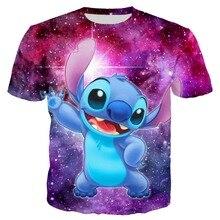 YX Girl 2019 Summer Casual T shirt Men 3d Print Anime Stitch Stary Sky T-shirt Short Sleeve T-shirts Tees Tops  Dropshipping