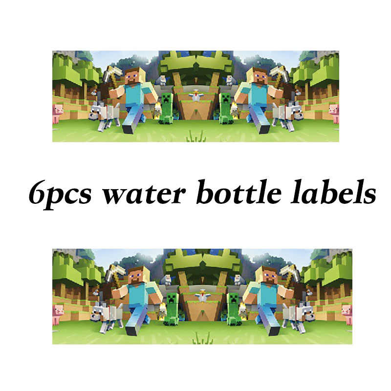 6pcs disposable water bottle labels Minecraft theme party decorations baby shower party supplies Minecraft theme stickers