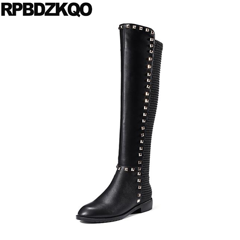 Size 34 Stretch Stud Slim Rivet Black Fashion Over The Knee Brand Women Winter Boots Genuine Leather High Shoes Long Sexy Chunky big size 34 45 women boots over the knee shoes black white slim thin high boots sexy ladies fashion shoes 86278