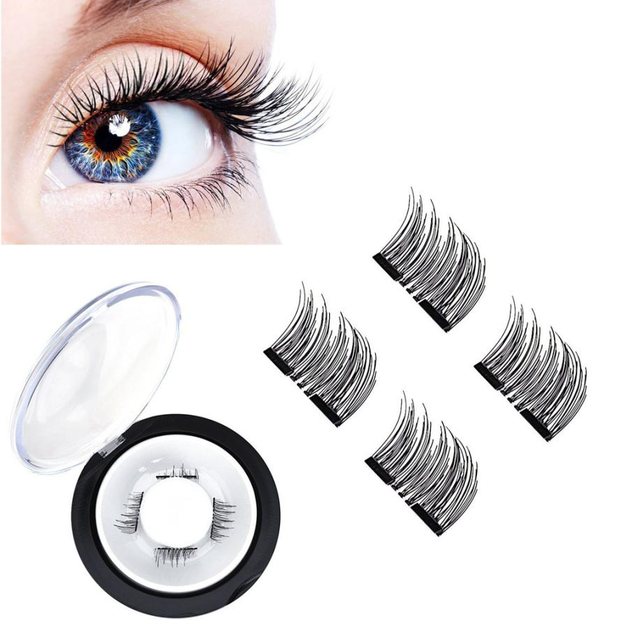 magnetic eyelashes 0.2mm thin False Eyelashes Synthetic Hair magnetic eyelash 3D Reusable extension lashes New 12.15