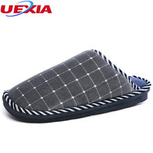 56241975fe468 UEXIA Winter Solid Warm Cotton Shoes Men's Slippers Non-slip TPU Soles Faux  Fur Flock Plush Indoor Wholesale Hot Bottom Flats
