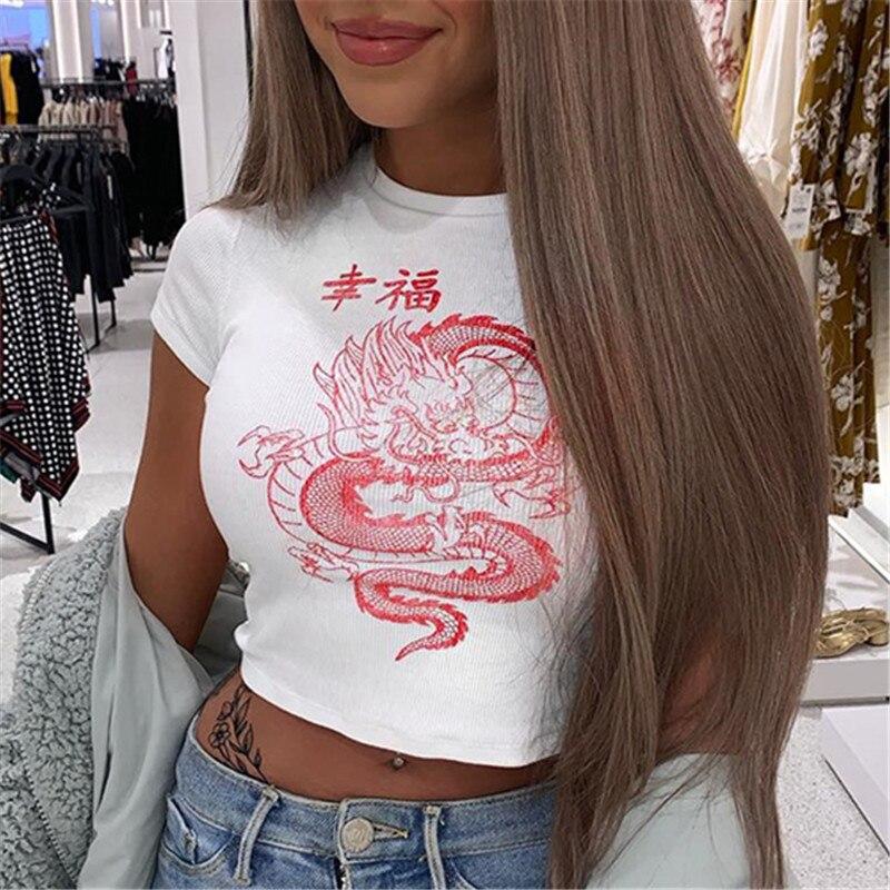 Women Streetwear Dragon Print White   T     shirt   Harajuku Short Sleeve Basic Knitted Top Summer Ladies Chinese Style Crop Top Tees