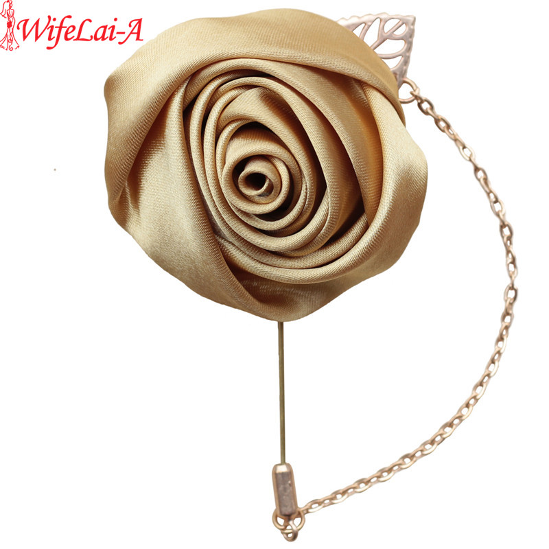 WIFELAI-A Wedding Gold Satin Rose Boutonniere ,Best Men Groom Bride Flowers With Pin For Wedding Prom Party 4Piece/lot XH0273-17